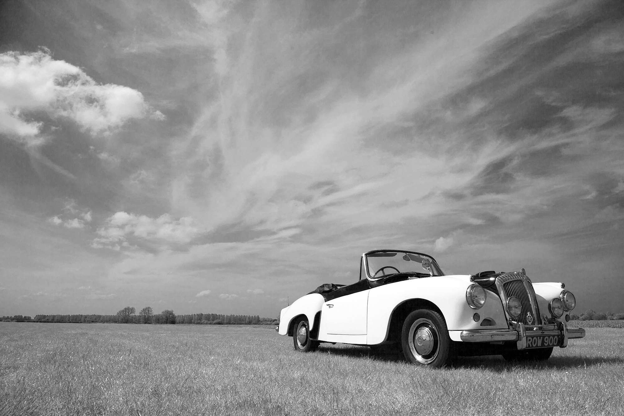 classic car on the grass in Norfolk