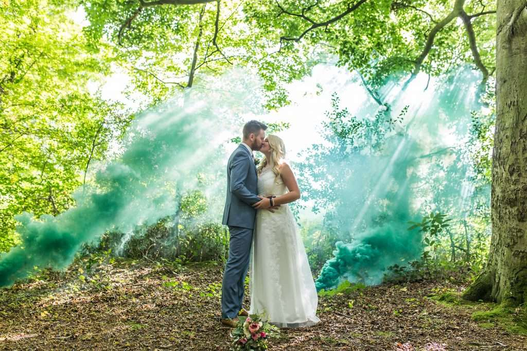 Norfolk Wedding Photography - smoke bomb in the woods