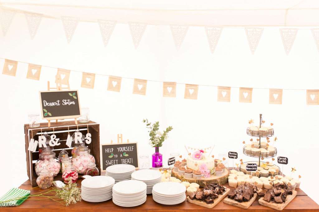 Sweet table at a wedding at Low Barn Farm Fundenhall in Norfolk