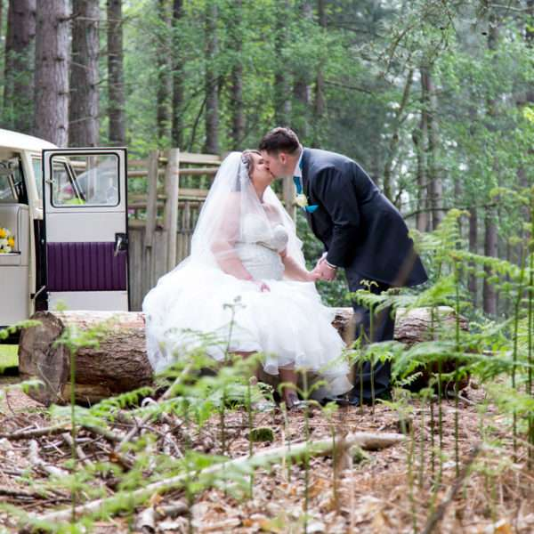 Wedding couple in the woods sat on a log in the woods at Sandringham
