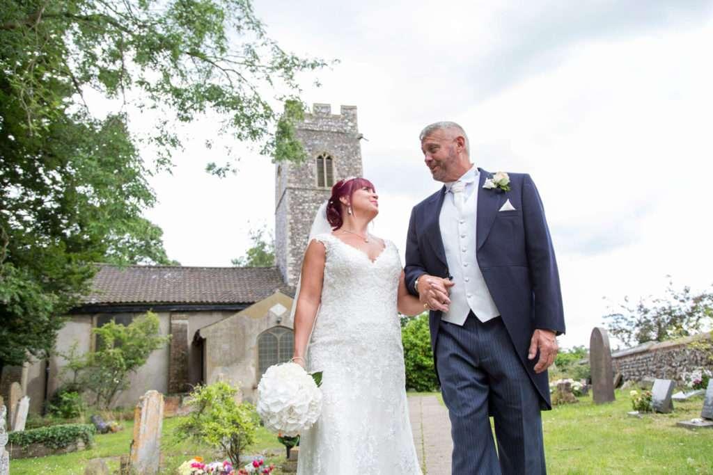 Bride & Groom leaving Old Lakenham Church in Norwich