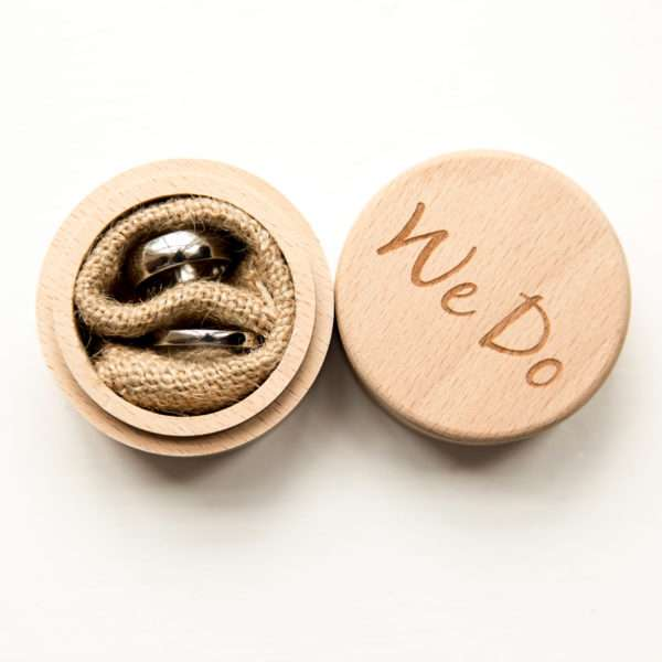 Wedding rings in We Do wooden box