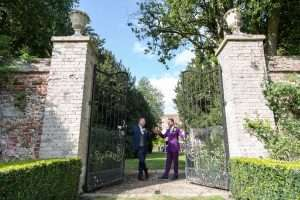 Gates to the walled garden at Hockwold Hall in Norfolk